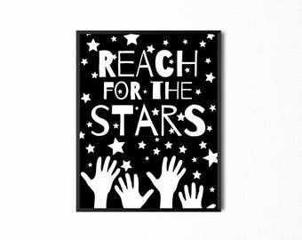 Reach for the Stars Quote, Baby Nursery Wall Art Print, Playroom Printable Wall Decor, Art for Kids
