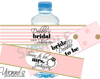 Bridal Shower Water Bottle Label/Wrappers- Soon-To-Be-Mrs. in Blush Pink and Gold - Wedding, Bachelorette Party - Comes Assorted