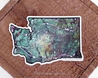 Glorious Green Washington State Vinyl Art Sticker