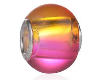 Pearl MURANO Crystal, yellow/pink, 15mm, réf: PM001JR