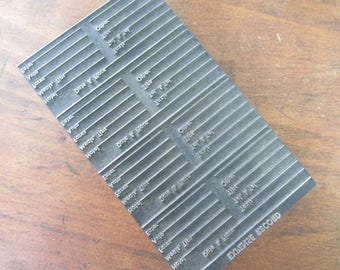 Letterpress Block Expense Record Vintage Printer's Block