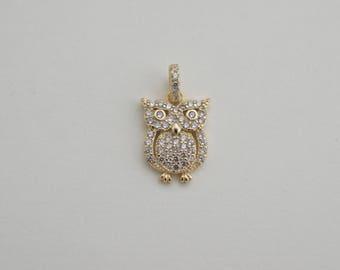 Pave owl pendant - cz owl charm -