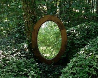 Mirror, Custom Vanity Mirror, Walnut Oval Mirror, Solid Walnut Mirror, Oval Mirror, Wood Oval Mirror, Rustic Oval Mirror