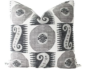 Decorative Designer Outdoor Grey, Black, Pillow Cover, 18x18, 20x20, 22x22 of Lumbar, Patio, Throw Pillow