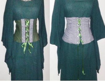 XXL Cincher in Olive Green and Gray with Celtic Trim, Front Lace