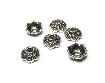 60 caps in antique silver, size 8.5 mm x 4 mm