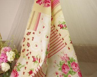 nice flowers and stripes fabric 100 cm H x 90 cm width