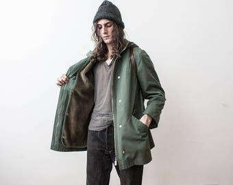 Vintage Parka 70s Army Military Jacket Khaki Coat Summer Jacket Size Medium Fleeced Removable Lining
