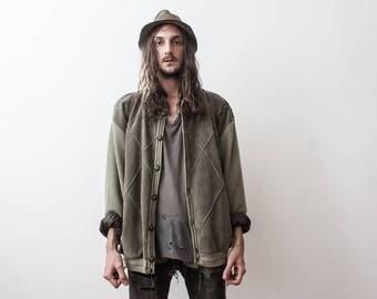 Vintage Green 60s Cardigan Jacket Wool Rustic Country Menswear Outerwear