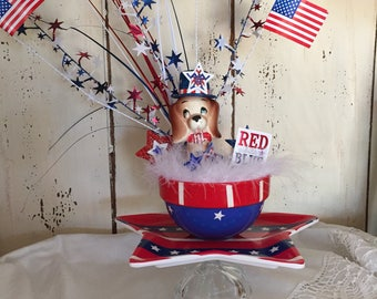 Adorable Dog Happy 4th of July Centerpiece!