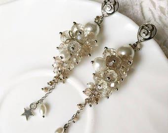 beaded earrings,  bead earrings, boho earrings, fringe earrings, beadwork jewelry, earrings bunch, sky,  long earrings