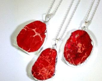 10% off SALE Red Sea Sediment Jasper Necklace Red Stone Necklace Slice Pendant Silver Edged Jewelry Boho Stone Pendant Colorful Necklace