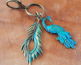 Peacock KeyChain / Feather and Peacock Key Chain/ Purse Decor / Purse Clip / Women's Keychain / Boho / Gift for Her /Gift for Bird Lover