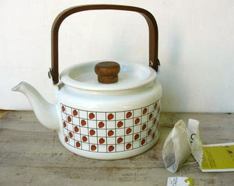 Vintage Enamel Tea Pot Strawberries Design By Kamenstein With Wooden Handle
