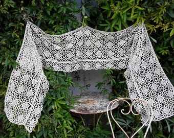 French Vintage, Antique Crochet, French Crochet, French Country, Drapes, Old Lace, French Country ,  Crochet Curtain , Crochet Valance
