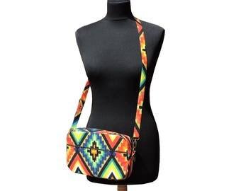 Abstract Cross-body bag. Messenger bag. Multi pocket purse. Shoulder bag in bright print