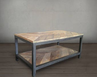 Wood and Metal Coffee Table, Chevron Pattern, Reclaimed Wood, Two Tier