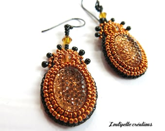 Vibrant embroidered earrings