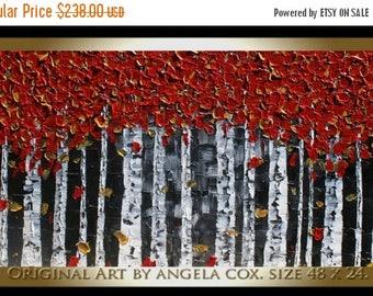 SALE Original Modern Red  Birch   Tree Landscape  Acrylic Impasto Palette Knife    Painting. Size 48 x 24.