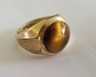 Vintage 10 K Gold Filled Tiger's Eye Ring SIZE 9.5