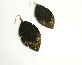 Earrings leather chocolate and gold glitter v