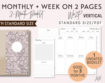 STANDARD Size Monthly-Week on 2 Pages Vertical Printable Booklet Insert - Good for 3 Months - fits Traveler's Notebook Regular Size