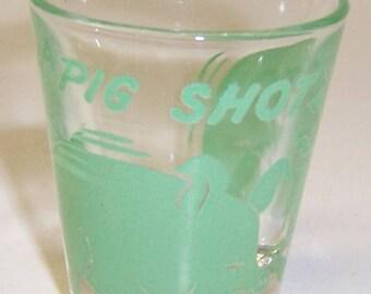 Hazel Atlas Green A PIG SHOT 2 1/8 Inch Whiskey or Shot Glass