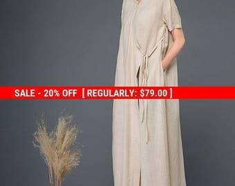 Beige dress, linen dress, womens dress, dress, long linen dress, long dress, loose dress, maxi dress, pocket dress, casual dress C1163