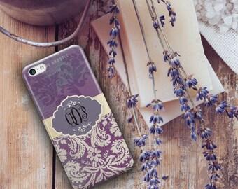 Monogram Iphone 6 case, Unique Iphone 5c case, Pretty iphone 6s case, Floral Iphone 5 case, Winter fashion accessories, Purple grunge (9784)