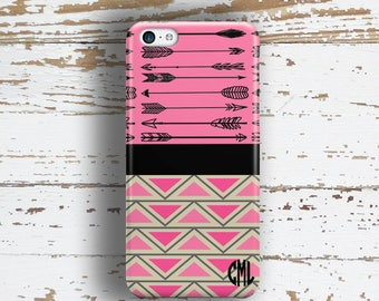 Unique gift for teen girls, Aztec phone case, Cute pink Fits iPhone 4/4s 5/5s 6/6s 7 8 5c SE X and Plus for her, Pink and black (1384)