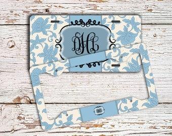 Mothers day gift idea, Monogram front license plate or frame, Pretty car tag, Light blue elegant Custom mini bike license plate cute (1011)
