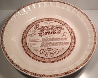 Royal China Co. Cheese Cake Recipe Plate