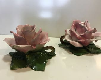 Vintage Pair of Ceramic Pink Capodimonte Rose Candle Holders Made in Italy