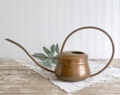 Vintage Copper Watering Can, Small Hammered Copper Watering Can, Small Round Watering Can, Copper Water Vessel, Cottage Chic Home Decor