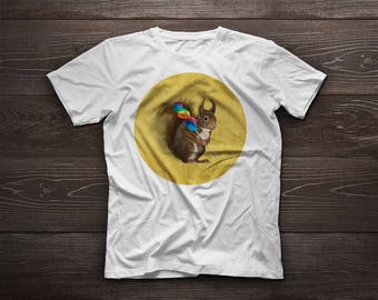 Squirrel t-shirt, squirrel tshirt, lollipop, beloved, kids, pet, boy, girl, gift, colourful, candy, candies, brown
