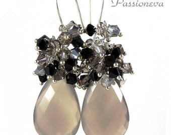 Silver 925 earrings / semi precious/craft/swarovski crystal briolettes.