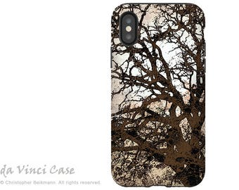 Brown Tree Abstract - Artistic iPhone X Tough Case - Dual Layer Protection for Apple iPhone 10 - Autumn Moonlit Night by Da Vinci Case