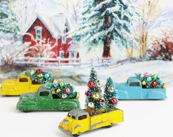 SALE: Vintage Christmas Ornament / Yellow Toy Truck & Bottle Brush Tree, Mercury Glass Beads / Stocking Stuffer Diorama /String, Gift Box