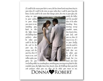 Personalized Song Lyrics with Photo - Any Song Lyrics or Wedding Vows - Wedding Song Photo CANVAS - Anniversary Gift - Gift for couple
