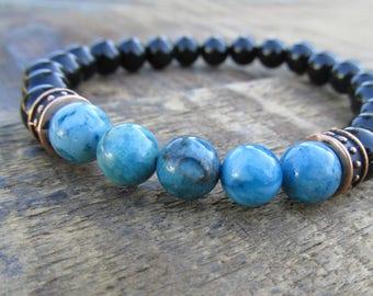 Black Onyx Men's Bracelet - Men's Jewelry - Gemstone Bracelet - Blue Bracelet - Stretch Bracelet - Beaded Bracelet - Onyx Bracelet - M03271
