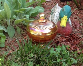 Vintage Marigold Glass Covered Compote Candy Dish