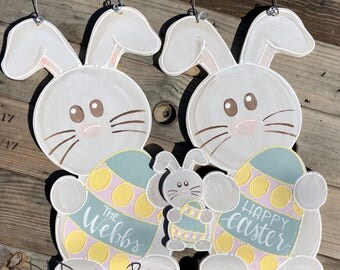 Easter bunny door hanger hand lettered egg happy easter