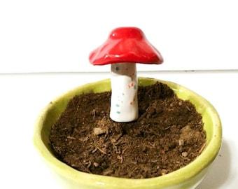 Red and White Mushroom, Aquarium Accessory, Ceramic Garden Stake, Fairy Garden Accessory