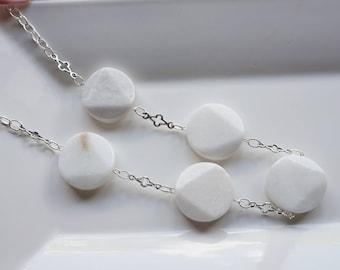 White Gemstone Necklace, Women's Necklace, Chunky White Necklace. White Statement Necklace