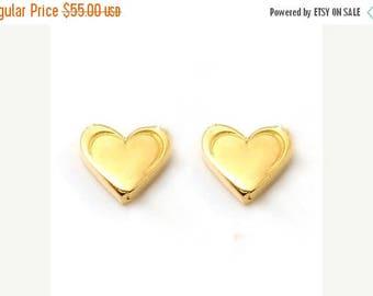 ON SALE Heart Petite Stud Earrings Sterling Silver Gold Vermeil