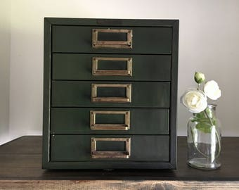 Vintage Army-Green Industrial Metal Drawer . Stack of Drawers . Industrial Farmhouse Decor . Filing Cabinet . Office Storage