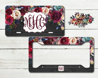 Personalized Floral Burgundy & Navy License Plate - Black Wood - License Plate Set - Monogrammed License Plate Frame - Boho Chic