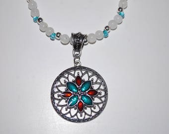 Moon Stone Necklace with Siver/Aqua/Red Pendant, Siver Spacers and Aqua Seed Beads with Silver Toggle Clasp.