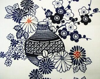 Indigo Floral Vase Vintage Japanese cotton yukata fabric. Vintage kimono fabric