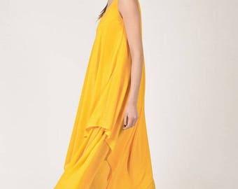 SALE New Summer Yellow Kaftan Chiffon Dress / Limited Edition Ultra Light Dress / Extravagant Long  Dress /Party Dress  by AAKASHA A03613